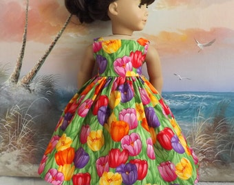 American Girl Doll Clothes Dress Colorful Spring Tulips Long Sundress