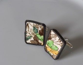 Broken China Cuff Links - Green and Yellow
