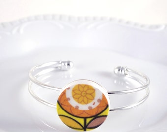 Recycled China Cuff Bracelet - Orange and Yellow