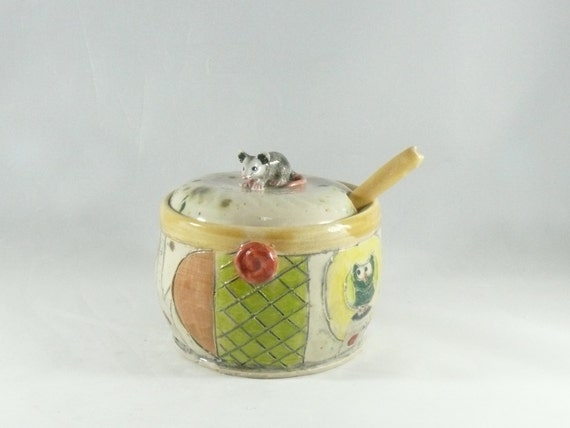 Ceramic Lidded Sugar Bowl and Spoon with Mouse Knob, Teaspoon + Lidded Storage Jar, Jam Pot, Kitchen Canister for Spices, Mustard, Salt, 405