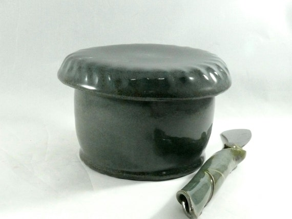 Extra Large Green French Butter Crock with Bell Lid   - Ceramic Butter Keeper  Crock - lidded butterdish - French Butter Dish
