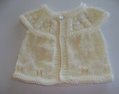 Hand Made Antique White Baby Short Sleeve Sweater Doll/ Baby Sweater Hand Knit Premature Baby
