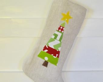 Modern Christmas Stocking - Christmas Stockings - Linen Christmas Stocking - Tree Stocking- Linen Stocking - Modern Christmas Stocking