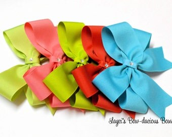 Choose your own Tails Down Hair Bows, girls bows, u pick size, solid color bows, big girl hair bows, small, medium, large, extra large bows