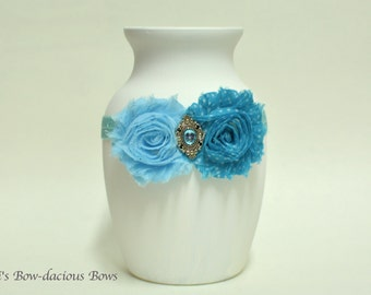 Blue Bliss - Ready to Ship - blue  Flower Headband