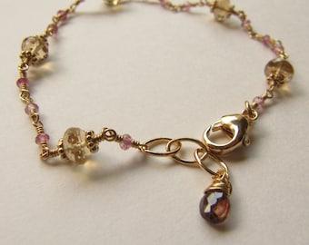 Champagne Quartz Pink Tourmaline Sapphire Wire Wrapped Bracelet