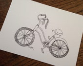 Original Ink Drawing, Bicycle Art, Bicycle Drawing, Black and White, Bicycle Illustration, Old Bike Drawing, Small Drawing, 5 x 7""