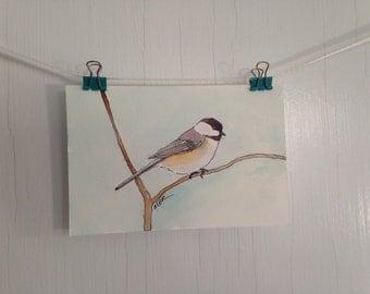 Chickadee Watercolor, Chickadee Painting, Small Bird Painting, Bird Watercolor, Small Postcard Painting, Wall Decor, 4 x 6 inches