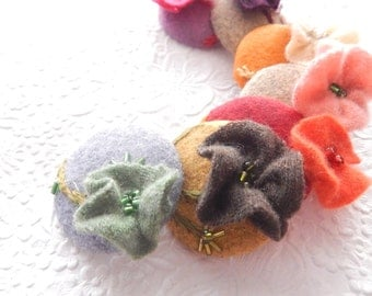 Cashmere wool floral buttons, beaded buttons, embroidered buttons, 1 7/8 inches, price per button, only one of each color available