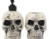 Antiqued Black Ceramic Skull Soap Dispenser and Toothbrush Holder Set for Bath Vanity or Kitchen Decor