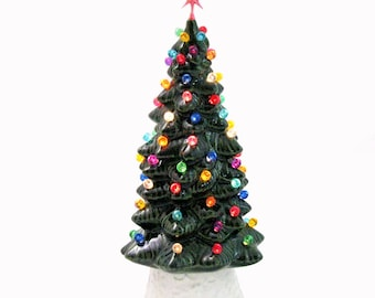 Christmas in Our Hearts Classic Ceramic Christmas Tree 10 Inch Tall Lighted Evergreen Tree White Base Colorful Lights and Choice of Star