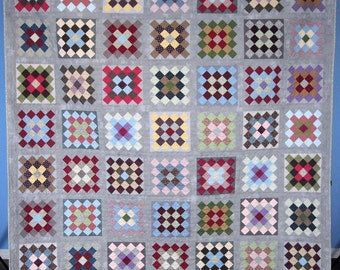 Queen Size Quilt - 95 x 95.5 - Granny Square Quilt - Scrap Quilt - Vintage Look - Reproduction 19th Century Petite Prints