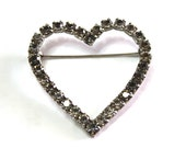 Vintage 60s Heart brooch pin Czech Crystal Silver Heart jewelry Valentines gift