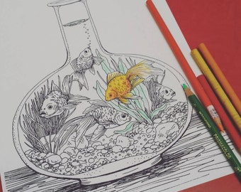 Goldfish Coloring Page #1 by Tempest Studios, Printable Adult Kids Fish Bowl Complicated