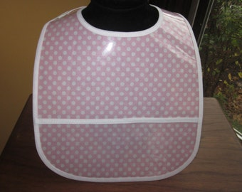 WATERPROOF WIPEABLE Baby to Toddler Plastic Coated Bib Pale Pink with White Polka Dots