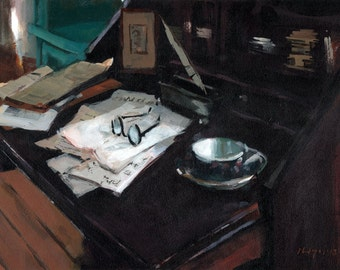 Art Print Interior Writer 9x12 on 11x14 - Secretary with Teacup and Glasses by David Lloyd