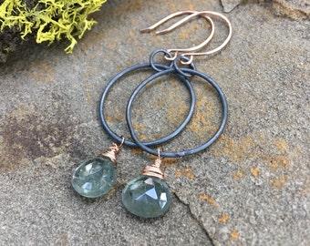 Moss Aquamarine, Rose Gold, Black Silver dangle earrings - oxidized sterling silver