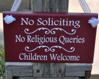 No Soliciting No Religious Queries Children Welcome Wood Vinyl Sign Prim Country Red Kid Fundraiser Boy Girl Scout Everyday Home Decor Mint