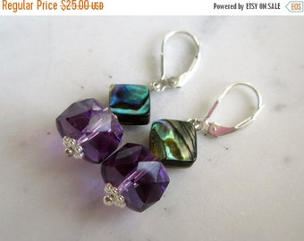 25% SALE Amethyst and Abalone Earrings. Amethyst and Paua Shell Earrings. Gifts for Her.