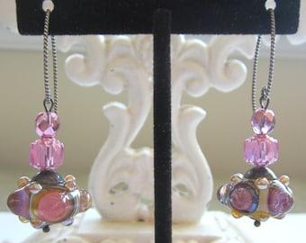 Rose Pink Lampwork Earrings. Rose Quartz Pink Earrings. Pink Lampwork Earrings.