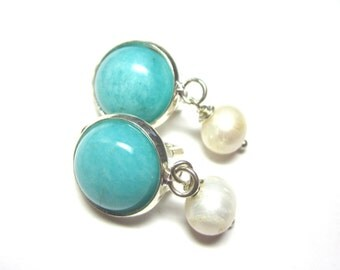 Amazonite and Freshwater Pearl Clip On Earrings.  Gemstone Clip On Earrings. 10mm Round.