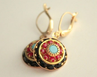 Swarovski Crystal Earrings - Black, Red, Turquoise - Brass - Gold Plated Leverback Earwires
