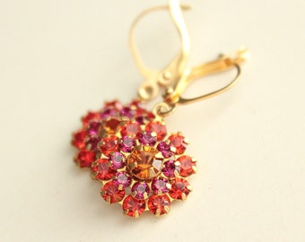 Swarovski Crystal Earrings - Brown, Fuchsia, Orange - Brass - Gold Plated Leverback Earwires