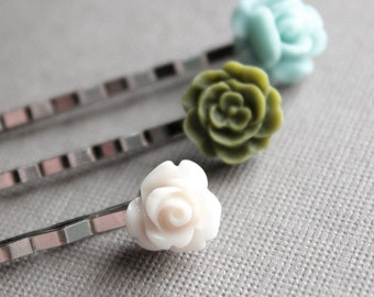 Silver Bobby Pins - Flowers - Ivory, Olive Green, Aqua