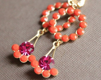 Orange/Fuchsia Crystal Earrings - Brass - Gold Plated Leverback Earwires