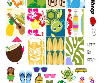 Let's Go Beach Planner Printable for The Happy Planner, MAMBI