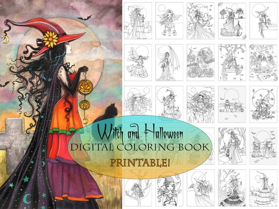Witch And Halloween Coloring Book