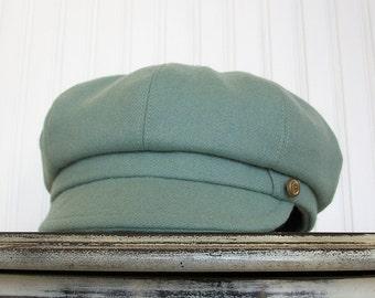 Womens Newsboy Hat - Womens Hat- Seafoam Green Wool - Newsboy Cap - Womens Caps - S