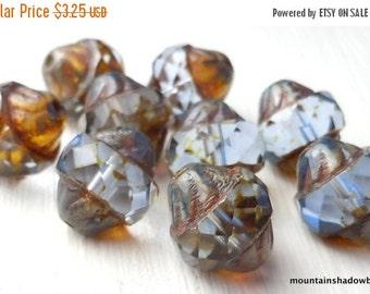 25% OFF Summer Sale Light Sapphire Picasso Czech Glass Beads 12mm Faceted Turbine - 10 pcs (G - 675)