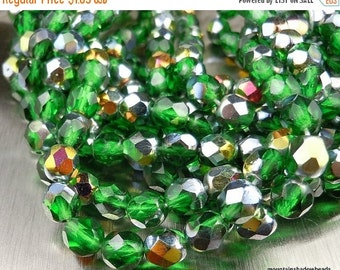 25% OFF Summer Sale 6mm Czech Beads - Emerald Vitral Firepolished Faceted 25 pcs (G - 9)