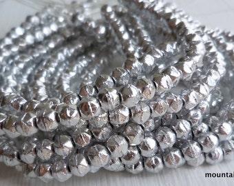 3mm English Cut Beads - Silver - Czech Glass Beads - 50 pcs (SP)