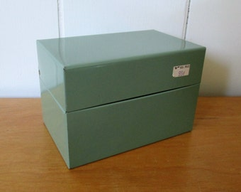 vintage gray recipe file box