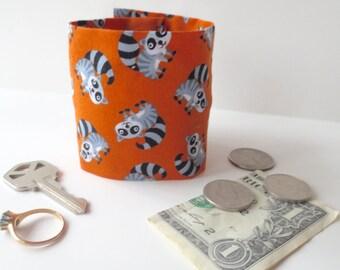Secret Stash Money Cuff - Raccoons! - hide your cash, coins, key, jewels, health info in a secret inside zipper...