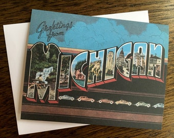 Greetings From Michigan Card - #8 Cars -Blank Inside
