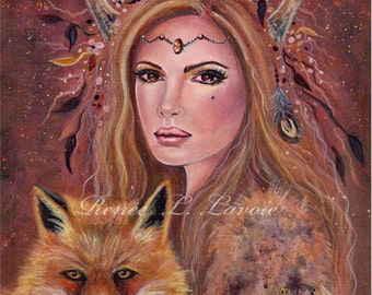 Philana girl with red fox portrait print by Renee L. Lavoie