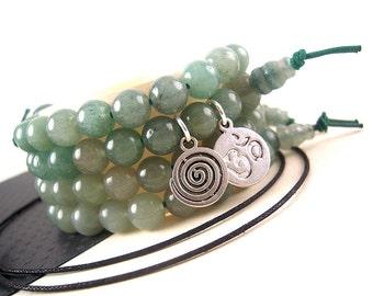 Green Adventurine Wrist Mala Beads, 8mm, Bracelet Kit, Silver Charm Option, Natural Gemstone, Yoga Bracelet Beads, Zen Prayer Bead WD16