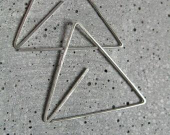 Geometric pattern minimalist triangle earrings,  sacred geometry original open hoops, minimalist gold  brass or 925 silver