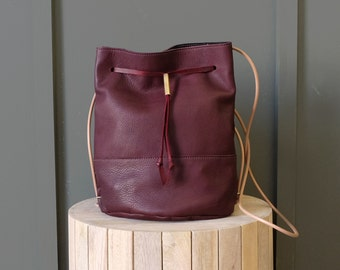 Leather Bucket Bag Convertible from Crossbody to Backpack- Burgundy Leather Purse; The LAGOA BUCKET BAG in Eggplant Burgundy by Awl Snap