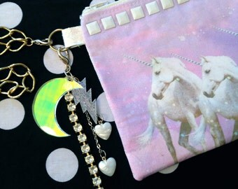 Pastel Unicorns Studded Wristlet Pouch with Zipper