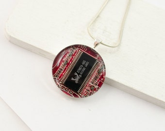 Circuit Board Necklace Red - Reclaimed Computer Jewelry - Motherboard Necklace - Geeky Mothers Day Gift