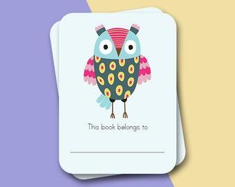 Back to school - 10 book stickers - Own bookplate labels