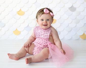 Romper - Tulle skirted, Skirted, Sequin Top Romper - Sequin Romper - Birthday Romper - Photoshoot - Pink Flower and Pink Sequin Romper