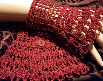 Burgundy Victorian Steampunk Gothic Crochet Lace Lace Wrist Cuffs Wiccan