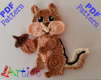 Chipmunk Crochet Applique Pattern