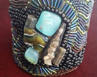 Majickal Goddess Alchemy wrist cuff, one of a kind, Love,