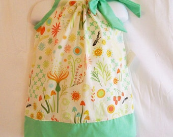 Girls Floral Garden with Aqua Pillowcase Dress, Girls Clothing, made in the USA , #371
